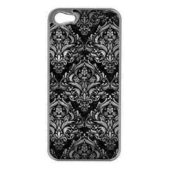 Damask1 Black Marble & Gray Metal 2 Apple Iphone 5 Case (silver)