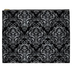Damask1 Black Marble & Gray Metal 2 Cosmetic Bag (xxxl)
