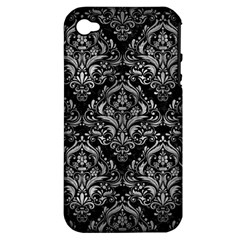 Damask1 Black Marble & Gray Metal 2 Apple Iphone 4/4s Hardshell Case (pc+silicone)