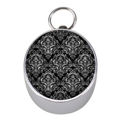 Damask1 Black Marble & Gray Metal 2 Mini Silver Compasses