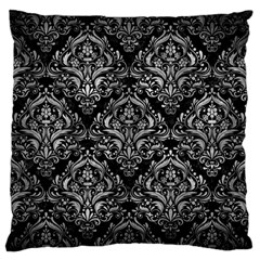Damask1 Black Marble & Gray Metal 2 Large Flano Cushion Case (one Side)