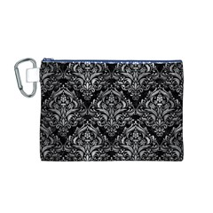 Damask1 Black Marble & Gray Metal 2 Canvas Cosmetic Bag (m)