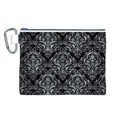 Damask1 Black Marble & Gray Metal 2 Canvas Cosmetic Bag (l)