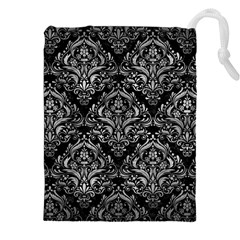 Damask1 Black Marble & Gray Metal 2 Drawstring Pouches (xxl)