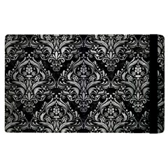 Damask1 Black Marble & Gray Metal 2 Apple Ipad Pro 12 9   Flip Case