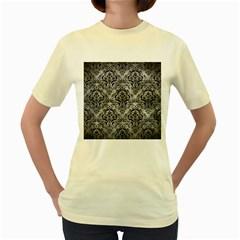 Damask1 Black Marble & Gray Metal 2 (r) Women s Yellow T Shirt