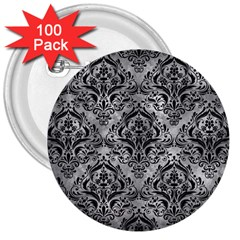 Damask1 Black Marble & Gray Metal 2 (r) 3  Buttons (100 Pack)
