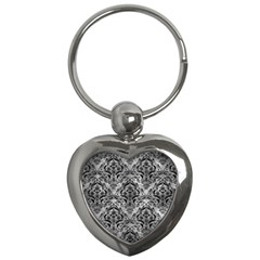 Damask1 Black Marble & Gray Metal 2 (r) Key Chains (heart)