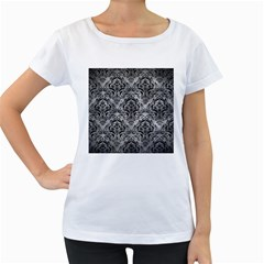 Damask1 Black Marble & Gray Metal 2 (r) Women s Loose Fit T Shirt (white)