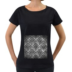 Damask1 Black Marble & Gray Metal 2 (r) Women s Loose Fit T Shirt (black)