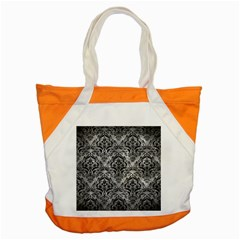 Damask1 Black Marble & Gray Metal 2 (r) Accent Tote Bag