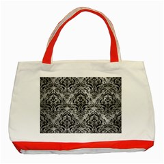 Damask1 Black Marble & Gray Metal 2 (r) Classic Tote Bag (red)