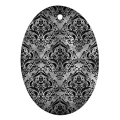 Damask1 Black Marble & Gray Metal 2 (r) Oval Ornament (two Sides)