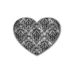 Damask1 Black Marble & Gray Metal 2 (r) Rubber Coaster (heart)
