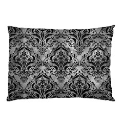 Damask1 Black Marble & Gray Metal 2 (r) Pillow Case