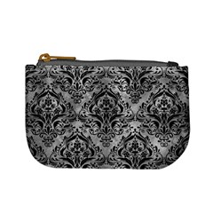 Damask1 Black Marble & Gray Metal 2 (r) Mini Coin Purses