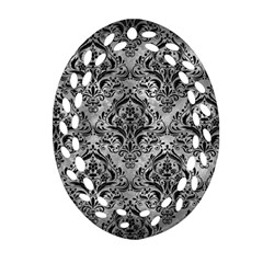 Damask1 Black Marble & Gray Metal 2 (r) Ornament (oval Filigree)