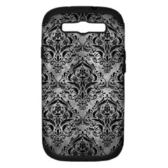Damask1 Black Marble & Gray Metal 2 (r) Samsung Galaxy S Iii Hardshell Case (pc+silicone)