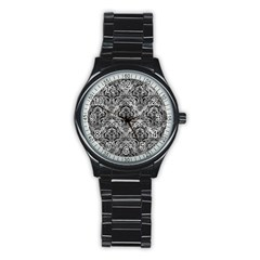 Damask1 Black Marble & Gray Metal 2 (r) Stainless Steel Round Watch