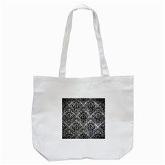 Damask1 Black Marble & Gray Metal 2 (r) Tote Bag (white)