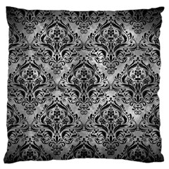 Damask1 Black Marble & Gray Metal 2 (r) Large Flano Cushion Case (two Sides)
