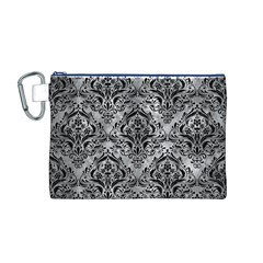 Damask1 Black Marble & Gray Metal 2 (r) Canvas Cosmetic Bag (m)