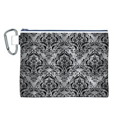 Damask1 Black Marble & Gray Metal 2 (r) Canvas Cosmetic Bag (l)