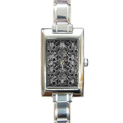 Damask2 Black Marble & Gray Metal 2 Rectangle Italian Charm Watch