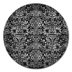 Damask2 Black Marble & Gray Metal 2 Magnet 5  (round)