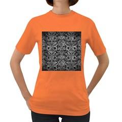 Damask2 Black Marble & Gray Metal 2 Women s Dark T Shirt