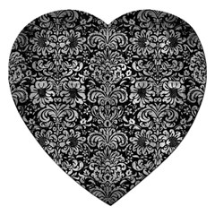 Damask2 Black Marble & Gray Metal 2 Jigsaw Puzzle (heart)