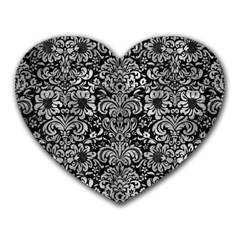Damask2 Black Marble & Gray Metal 2 Heart Mousepads
