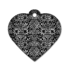 Damask2 Black Marble & Gray Metal 2 Dog Tag Heart (two Sides)