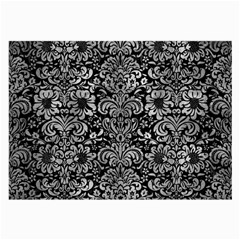 Damask2 Black Marble & Gray Metal 2 Large Glasses Cloth