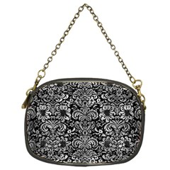 Damask2 Black Marble & Gray Metal 2 Chain Purses (two Sides)