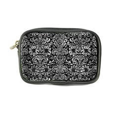 Damask2 Black Marble & Gray Metal 2 Coin Purse