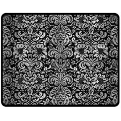 Damask2 Black Marble & Gray Metal 2 Fleece Blanket (medium)