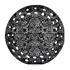 Damask2 Black Marble & Gray Metal 2 Round Filigree Ornament (two Sides)