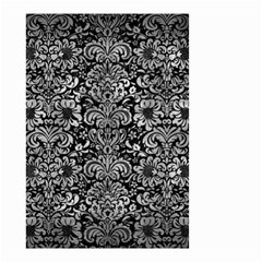 Damask2 Black Marble & Gray Metal 2 Small Garden Flag (two Sides)