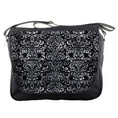 Damask2 Black Marble & Gray Metal 2 Messenger Bags