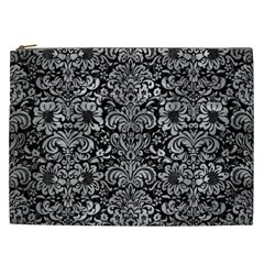 Damask2 Black Marble & Gray Metal 2 Cosmetic Bag (xxl)