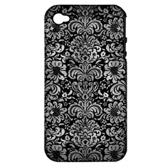 Damask2 Black Marble & Gray Metal 2 Apple Iphone 4/4s Hardshell Case (pc+silicone)