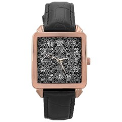 Damask2 Black Marble & Gray Metal 2 Rose Gold Leather Watch