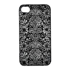 Damask2 Black Marble & Gray Metal 2 Apple Iphone 4/4s Hardshell Case With Stand