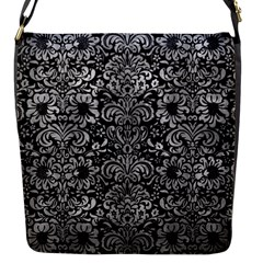 Damask2 Black Marble & Gray Metal 2 Flap Messenger Bag (s)