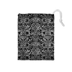 Damask2 Black Marble & Gray Metal 2 Drawstring Pouches (medium)