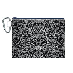 Damask2 Black Marble & Gray Metal 2 Canvas Cosmetic Bag (l)