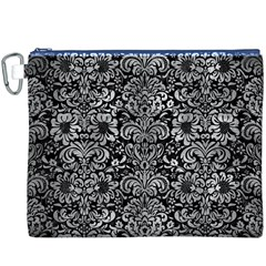 Damask2 Black Marble & Gray Metal 2 Canvas Cosmetic Bag (xxxl)
