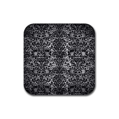 Damask2 Black Marble & Gray Metal 2 (r) Rubber Square Coaster (4 Pack)