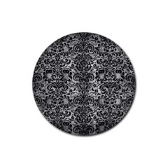 Damask2 Black Marble & Gray Metal 2 (r) Rubber Round Coaster (4 Pack)